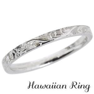 ハワイアンジュエリー ハワイアンリング K18 ホワイトゴールド 波と花レリーフ メンズ|shinjunomori