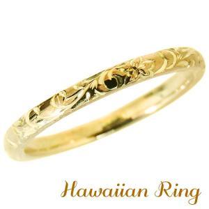 ハワイアンジュエリー ハワイアンリング K18 イエローゴールド 波と花レリーフ メンズ|shinjunomori
