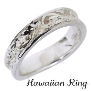 ハワイアンジュエリー ハワイアンリング K18 ホワイトゴールド 波と花レリーフ 逆甲丸 メンズ|shinjunomori