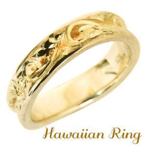 ハワイアンジュエリー ハワイアンリング K18 イエローゴールド 波と花レリーフ 逆甲丸 メンズ|shinjunomori