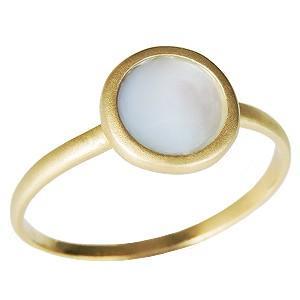 リング ホワイトシェルリング 白蝶貝リング シェル 指輪 アンティークリング イエローゴールド K18 送料無料 shinjunomori