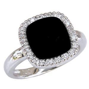 オニキスリング オニキス指輪 黒瑪瑙 黒メノウ ダイヤモンド 0.13ct ホワイトゴールド K18WG 18金 送料無料 shinjunomori