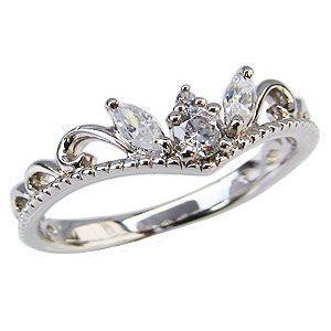 ダイヤモンドリング ティアラリング 王冠 ダイヤモンド 指輪 ダイヤ ホワイトゴールド K18WG|shinjunomori