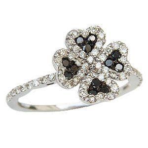 ダイヤモンド リング ブラックダイヤモンド リング クローバー 指輪 K18 ホワイトゴールド プレゼント|shinjunomori