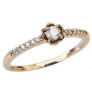 ダイヤモンド リング ダイヤモンド 指輪 ピンクゴールド K18 花 フラワー|shinjunomori