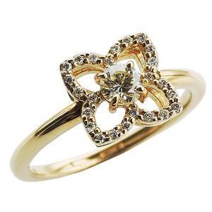 ダイヤリング ダイヤモンド リング ダイヤモンド指輪 ダイヤモンド 0.30ct フラワー花モチーフ ゴールド K18|shinjunomori