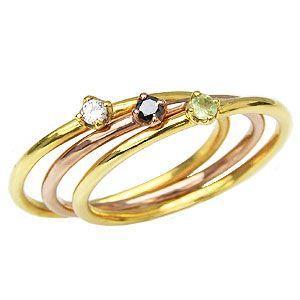 ピンキーリング アクアマリン ブラックダイヤモンド ペリドット リング K18YG K18PG 3連 指輪|shinjunomori