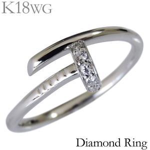 リング 釘 くぎ モチーフ T字 フリーサイズ 0.06ct ダイヤモンド K18ホワイトゴールド レディース diamond ダイヤ ネイル ねじり|shinjunomori