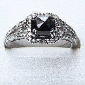 指輪ダイヤモンド リング 一粒 ブラックダイヤモンド ホワイトゴールド 指輪|shinjunomori