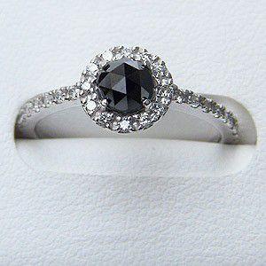 指輪ダイヤモンド リング 一粒 ブラックダイヤモンド ホワイトゴールド 指輪 プレゼント|shinjunomori