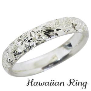 ハワイアンジュエリー ハワイアンリング K18 ホワイトゴールド 波と花レリーフ 甲丸 メンズ|shinjunomori