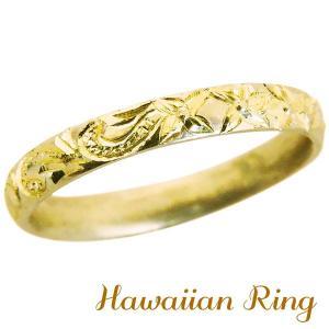 ハワイアンジュエリー ハワイアンリング K18 イエローゴールド 波と花レリーフ 甲丸 メンズ|shinjunomori