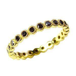 フルエタニティーリング ブラックダイヤモンド リング イエローゴールド K10 結婚指輪|shinjunomori