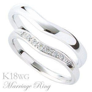 マリッジリング 結婚指輪 高品質 ペア2個セット ダイヤモンド K18 ホワイトゴールド 3bds|shinjunomori