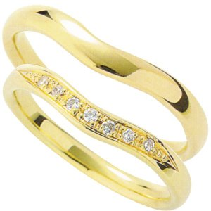 マリッジリング 結婚指輪 高品質 ペア2個セット ダイヤモンド K18 イエローゴールド 3dds|shinjunomori|02