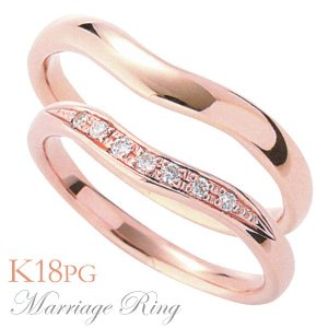 マリッジリング 結婚指輪 高品質 ペア2個セット ダイヤモンド K18 ピンクゴールド 3ids shinjunomori