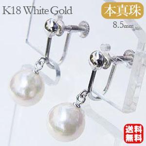 真珠:パール:あこや本真珠:イヤリング:ブラ:8.5mm:K18WG:ホワイトゴールド:アコヤ真珠 冠婚葬祭|shinjunomori