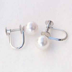パールイヤリング 真珠のイヤリング あこや真珠パール 6-6.5mm ホワイトゴールドイヤリング 冠婚葬祭 送料無料|shinjunomori