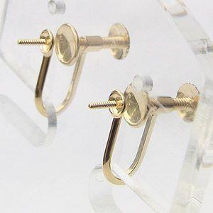 イヤリング K18 ゴールド 金具 ネジ スクリュー 式 スタッドタイプ Mサイズ ペア|shinjunomori