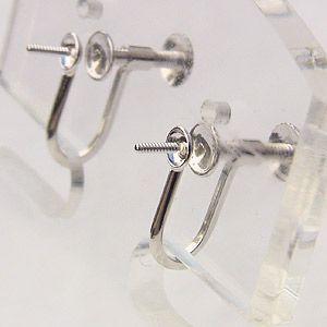 イヤリング K14WG ホワイトゴールド 金具 ネジ スクリュー 式 スタッドタイプ Mサイズ ペア|shinjunomori