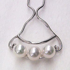 かんざし 髪飾り パール あこや本真珠 和装小物 着物 ヘアアクセサリー 冠婚葬祭|shinjunomori
