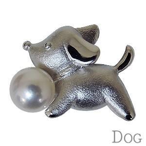 メンズブローチ パール ブローチ ラペルピン メンズピンブローチ 真珠 アコヤ真珠 あこや真珠 仔犬 DOG 男女兼用 ユニセックス|shinjunomori