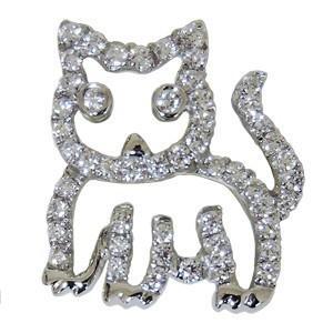メンズブローチ 男性用 ダイヤモンドブローチ 猫 ねこ ピンズ キャット cat ラベルピン ダイヤモンド ブローチ K18 ホワイトゴールド ジュエリー|shinjunomori