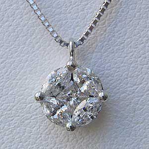 メンズ ダイヤモンド ペンダント ネックレス K18WG ホワイトゴールド ベネチアンチェーン スライド調整付き マーキス プリンセス shinjunomori