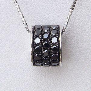 メンズ ブラックダイヤモンドペンダントネックレス ホワイトゴールド ベネチアンチェーン付|shinjunomori