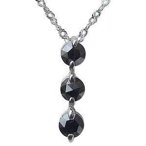 メンズ ブラックダイヤモンド ペンダントネックレス K10WG ホワイトゴールド チェーン付|shinjunomori