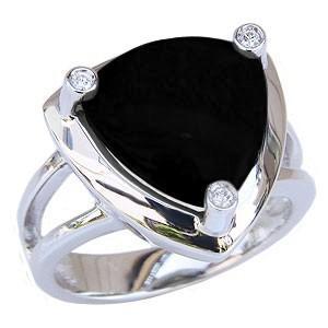 メンズオニキスリング オニキス指輪 男性用 黒メノウ ダイヤリング 指輪 メンズリング K18WG 18金 送料無料|shinjunomori