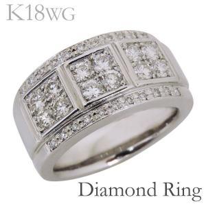 リング フラットバンド パヴェ ダイヤモンド K18ホワイトゴールド メンズ|shinjunomori