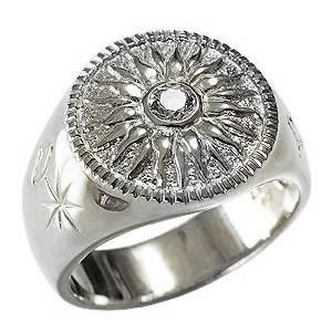 メンズリング ダイヤモンドリング 太陽モチーフ 指輪 印台リング 太陽 メンズ 男性用 PT900プラチナ 送料無料 バレンタインデー クリスマス|shinjunomori