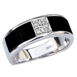 オニキスメンズリング オニキス男性用指輪 黒メノウ ダイヤモンド メンズ指輪ホワイトゴールド K18WG 18金 送料無料|shinjunomori