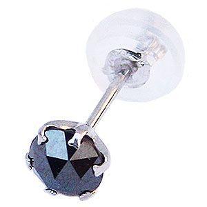 メンズピアス ピアス ブラックダイヤピアス 片耳用 ブラックダイヤモンド 0.25ct PT900 プラチナ 男性用|shinjunomori