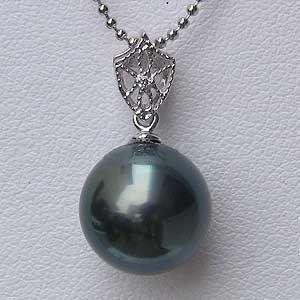 メンズジュエリー 真珠パール ネックレスペンダント 黒真珠 K18ホワイトゴールド メンズ ダイヤモンド|shinjunomori