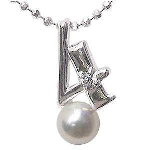 真珠 ラッキーナンバー4 ペンダントトップ ホワイトゴールド ベビーパール 4月誕生石 ダイヤモンド shinjunomori
