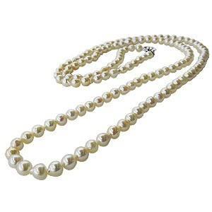 ネックレス ロングネックレス 全長約105cm〜110cm あこや本真珠 7-7.5mm パールネックレス バロック型 パールロングネックレス 送料無料