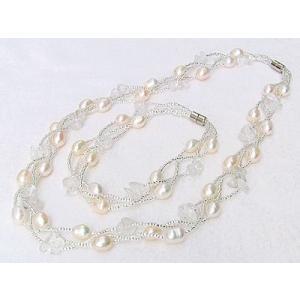 真珠 パール ネックレス 冠婚葬祭 結婚式 淡水真珠 ブレスレットセット 水晶付 shinjunomori