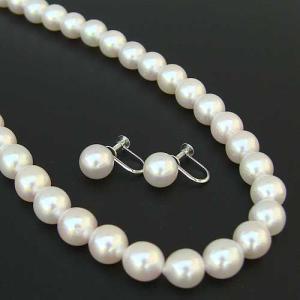 真珠 パール ネックレス 冠婚葬祭 結婚式 イヤリング セット あこや本真珠 ブライダル 真珠2点セット|shinjunomori