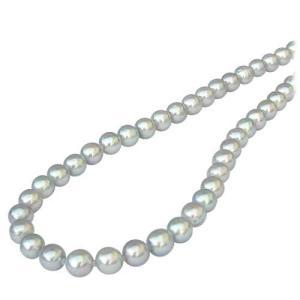 真珠 パール ネックレス 冠婚葬祭 結婚式 ロングネックレス レディース あこや本真珠 シルバーグレー系|shinjunomori