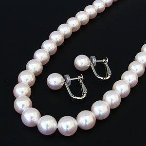真珠 パール ネックレス 冠婚葬祭 結婚式 イヤリング セット あこや本真珠鑑別書付き|shinjunomori