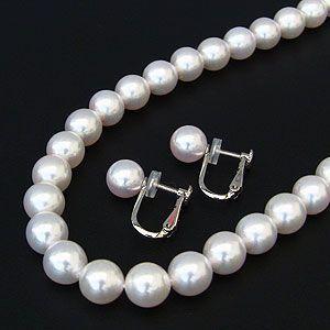 真珠 パール ネックレス 冠婚葬祭 結婚式 イヤリングまたはピアス セット あこや本真珠鑑別書付き|shinjunomori