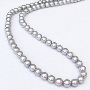 真珠 パール ネックレス 冠婚葬祭 結婚式 ロングネックレス レディース あこや本真珠 6.5〜7mm グレー系 全長約120cm 送料無料|shinjunomori