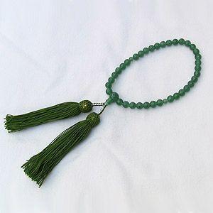 数珠 アヴェンチュリン 印度翡翠 グリーン 緑 念珠 女性用 冠婚葬祭|shinjunomori
