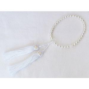 念誦 念珠 数珠 パール 真珠 念珠パールあこや真珠 7.5mm 仏事 必需品 冠婚葬祭|shinjunomori