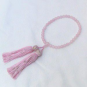 紅水晶 ローズクォーツ 念珠 数珠 7m 丸玉 房ピンク色 念珠ケース付き 女性用|shinjunomori