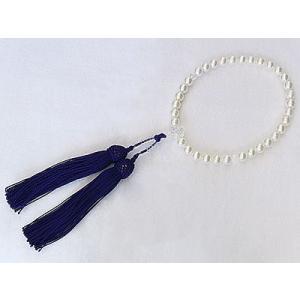 念誦 念珠 数珠 パール 真珠 あこや本真珠 正絹 房 紫 念誦 念珠 冠婚葬祭|shinjunomori