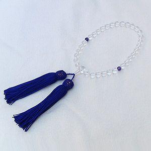 数珠 白水晶 紫水晶 クォーツ アメジスト 念珠 数珠 女性用 冠婚葬祭|shinjunomori