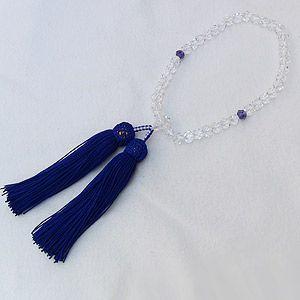 数珠 白水晶切子 紫水晶 クォーツ アメジスト 念珠 数珠 女性用 冠婚葬祭|shinjunomori